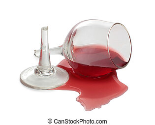 Spilled red alcohol - Broken glass and spilled red wine