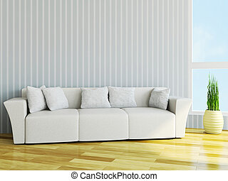 White sofa with cushions near the wall