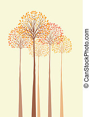autumn trees - Vector background with autumn trees