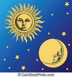 sun moon and stars on the sky background