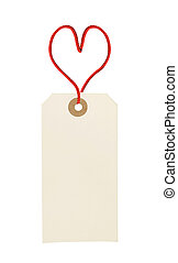 cardboard tag with red heart ribbon isolated on white...