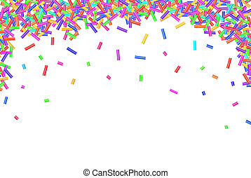 Border frame of colorful sprinkles isolated on white...