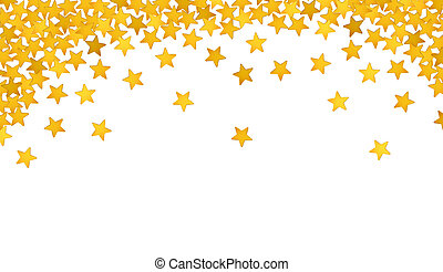 Golden stars in the form of confetti on white background