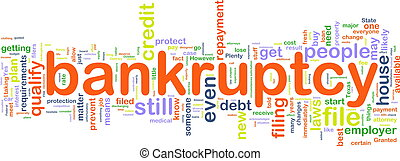 Bankuptcy wordcloud - Word cloud concept illustration of...