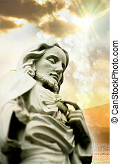 Jesus at Sunset - Statue of Jesus Christ with Sunset in the...