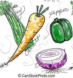 Veggies - A group of four vegetables in a seamless pattern...