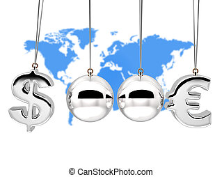 Balancing balls 3d Concep currency rates duel