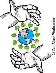 Hands holding the earth doodle