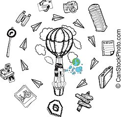 Hot air balloon with lifestyle doodles on white background