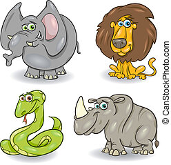 cute wild animals set - Cartoon Illustration of Cute Wild...