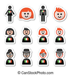 St Patricks Day, irish poeple - Vector labels set of Irish...