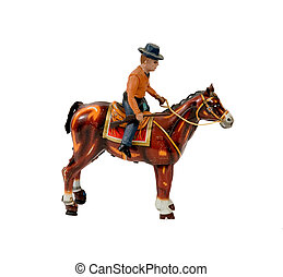 COWBOY WITH HORSE TIN TOY - antique cowboy with horse tin...