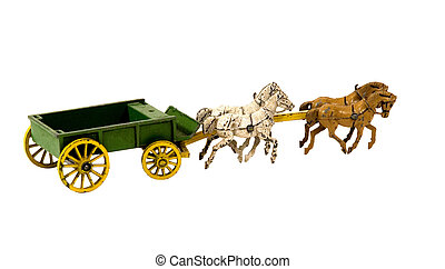 ANTIQUE CART WITH HORSES - antique iron cart with horses on...