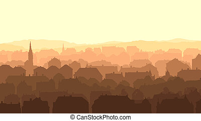 Big European city at sunset - Horizontal abstract...