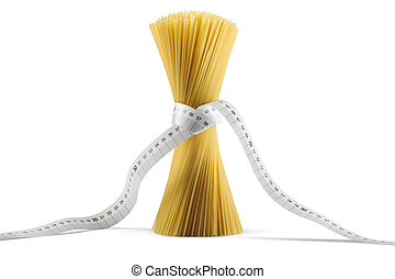diet pasta - bunch of uncooked spaghetti with measure tape...