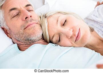 couple, aimer, mûrir, lit, dormir