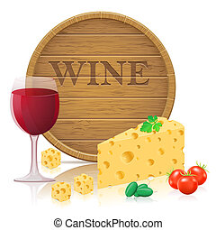 still life with cheese and wine vector illustration isolated...