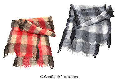 black and white scarf isolated on white