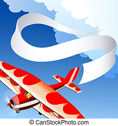 Plane with banner - Illustration with flying plane with...