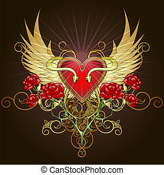 The heart with snakes - Coat of arms with a heart shape...