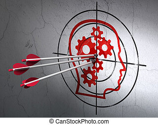 Advertising concept: arrows in Head With Gears target on...