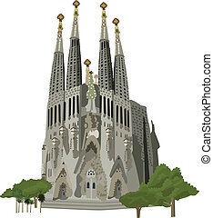 Sagrada Familia church vector illustration - Sagrada familia...