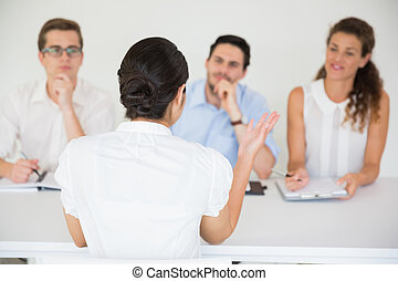 Candidate having an interview - Female candidate having an...