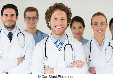 Smiling doctors and nurses