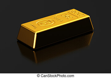 Gold bullion - New shiny gold bullion over semi glossy...