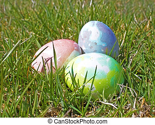 colorful abstract easter eggs in grass