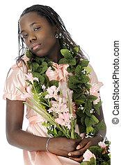 Snooty - A flower bedecked tween girl appearing snooty as...