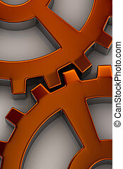Gear wheels - Interlocking gear wheels in orange over white...