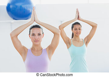 Sporty women with joined hands in fitness studio - Beautiful...