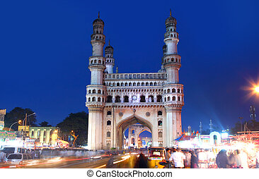 Charminar in night time - HYDERABAD,INDIA -AUGUST 29:...