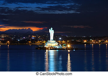 Buddha statue - HYDERABAD,INDIA -August 31: Buddha statue in...