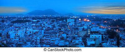Vijayawada in night time - VIJAYAWADA INDIA - August 27:...