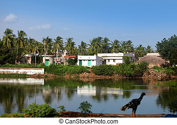 Indian village - Small Indian village by Buckingham canal in...