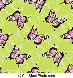 Vector seamless texture with butterflies.