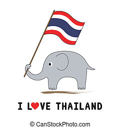 Elephant hold Thai flag1 - Elephant hold Thai flag for...