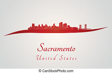 Sacramento skyline in red