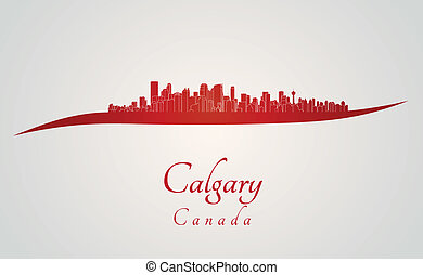 Calgary skyline in red and gray background in editable...