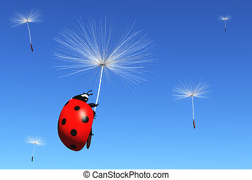 Floret carries a ladybug - a ladybug is clinging to a floret...