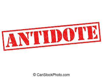 ANTIDOTE red Rubber Stamp over a white background