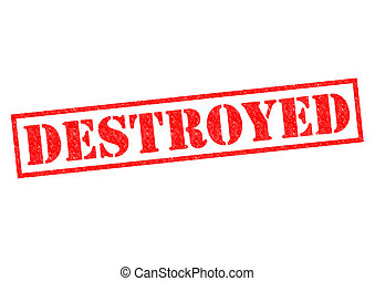 DESTROYED red Rubber Stamp over a white background.