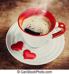 Morning coffee for a loved one Valentines day Love concept...