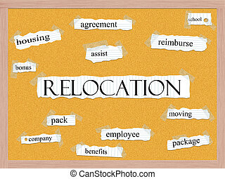 Relocation Corkboard Word Concept