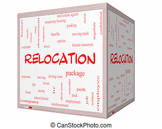 Relocation Word Cloud Concept on a 3D cube Whiteboard