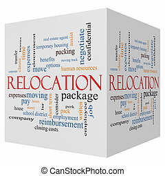 Relocation 3D cube Word Cloud Concept with great terms such...