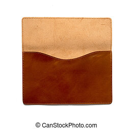 Brown leather clutch bag on a white background