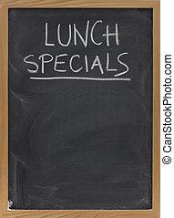 almoço, specials, quadro-negro, vertical